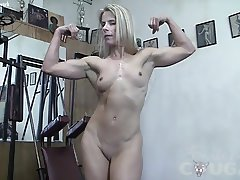 Mature blonde gets groped in the gym. Loves it.