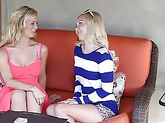 Sensual blonde licks her hot girlfriend's feet and pussy
