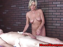 Bigtitted mature masseuse dominates with hj