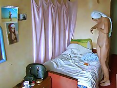 Young student naked after shower