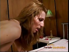 Naughty t-girl gets slammed really hard with a huge strap-on
