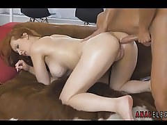 Redhead Lubed Up for Anal Sex