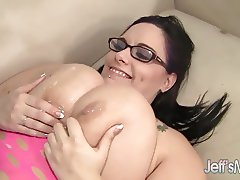 Cute Fat Girl Wearing Glasses Takes a Dick