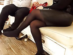 mature fr relaxing her pantyhosed legs&feets