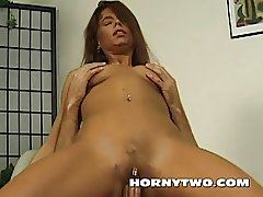 Pussy Pierced mature older brunette fat cock into her wet
