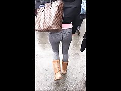 Cum on leggings on street