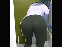 Yoga pants cleaing public restroom