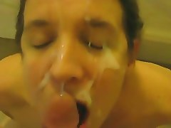 Skinny wife sucks for her weekly facial