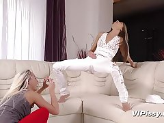 Submissive blonde gets piss in her mouth from her kinky girl