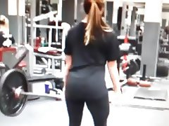 Miranda's bubble in see through spandex yoga pants