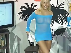 Jenny Scordamaglia presents TV show in see-through outfit