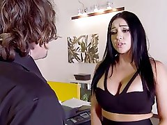 Audrey Bitoni lets him suck on her big fucking tits