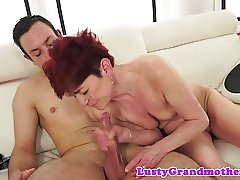Seductive gilf fucked on the couch