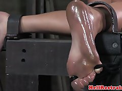 Bound sub whipped by her master