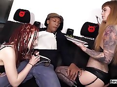 BUMS BUS - Steak & Blowjob Day bus fuck with alt German babe