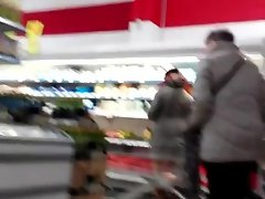 Follow in supermarket with flash and cum