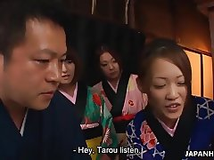 Tarou dared to show his big cock to a ready Asian babe
