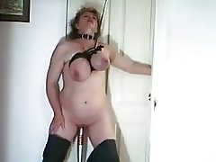 Breast bondage and baseball bat