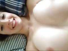 cumshot on her big perfect tits
