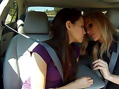 Lesbian Hot Sex in a Car. P. 1