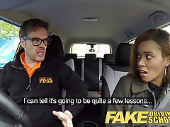 Fake Driving School young ebony learner enjoys creampie for