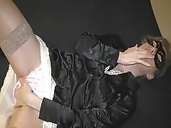 Satin panty handjob and huge cumshot on satinblouse preview
