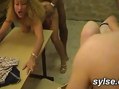 Gangbang in classroom for 2 MILFs teachers