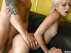 Petite slut Moretta throated, DP and gangbanged