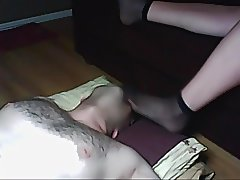 Homemade naked husband sniffs tired feet of his wife