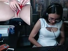 Hot chick masturbates at work