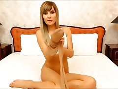 Girl puts on pantyhose in bed 05 (YST)