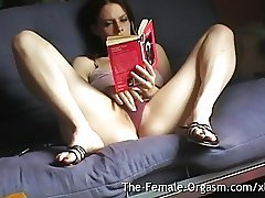 Home Alone Selfie Reading Erotica and Masturbating