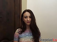 Brunette teen Mandy is being punished by hard stiff pole