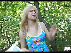 Blonde Paid to Suck Cock in Forest