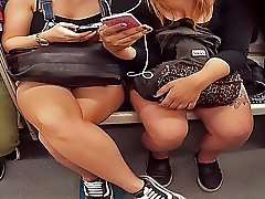 girls having fun on metro