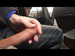 Cumshot next to asian girl in train