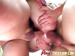 Two studs destroy slut's pussy and ass
