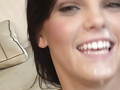 Fresh faced babe gets facial after hardcore anal