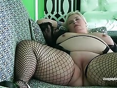Big fat pussy on PAWG in fishnets
