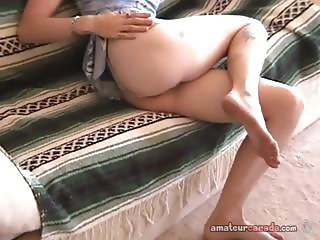 Geek girlfriend Fran masturbates on couch