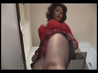 Big tits mature in mini skirt and crotchless pantyhose gets wet