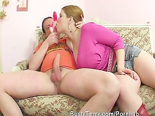 Big titted Busty Terry fucking and eating sticky jizz