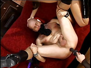 Two hot femdoms strap on fuck a slave guy