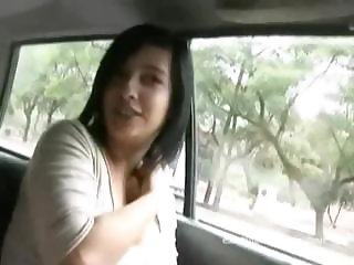 Busty latina gives blowjobs in threesome after car sexy talking
