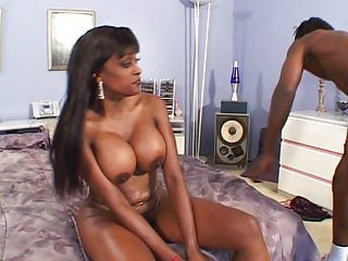 Lingerie big tits ebony fucks him well