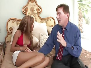 very sexy ebony girl and older man