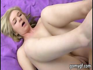 Sexy blonde girlfriend is filmed by her bf while he fucks her and gives a facial