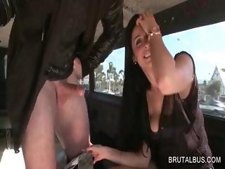 Blowjob in bus with horny babe