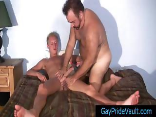 Blonde twink getting his dick sucked by old gay bear part1