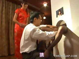 Asian gets stockings ripped on GH